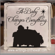 A baby changes everything - glass block vinyl