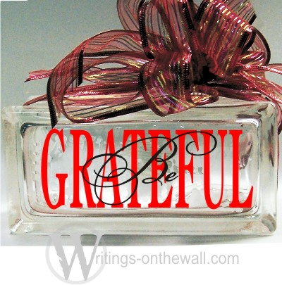 Be Grateful two color small glass block vinyl decal