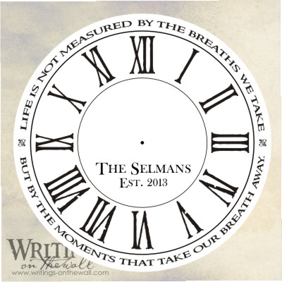 Clock face - Primitive Roman Numerals - Life is not measured by the breaths we take, but by the moments that take our breath away. text personalization. vinyl clockface decal
