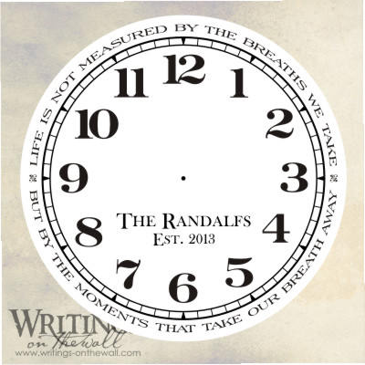 Clock Face – Text Lettering personalization – Life is not measured by the breaths we take.Vinyl decal clock face.