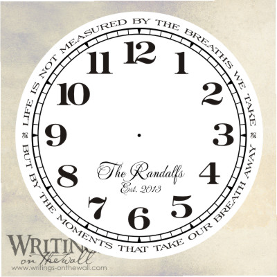 Clock Face - Life is not measured by the breaths we take with numbers and script personalization.