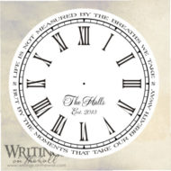 Clock face with Script style personalization and quote around the outside. Life is not measured by the breaths we take... Vinyl decal.