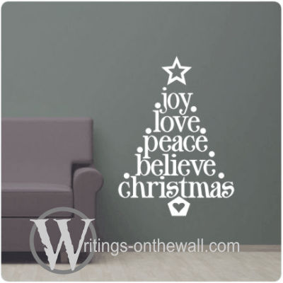 Words of Christmas Tree for your wall. Vinyl wall decal.
