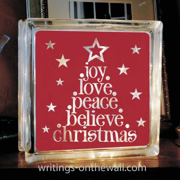 Christmas Tree Words vinyl decal for glass block or tile