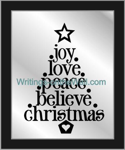Words of Christmas. Tree with joy, love, peace, believe, christmas vinyl decal for a frame.