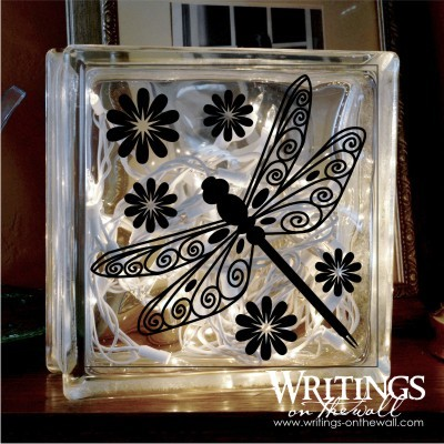 Dragonfly Glass Block Vinyl Writings On The Wall