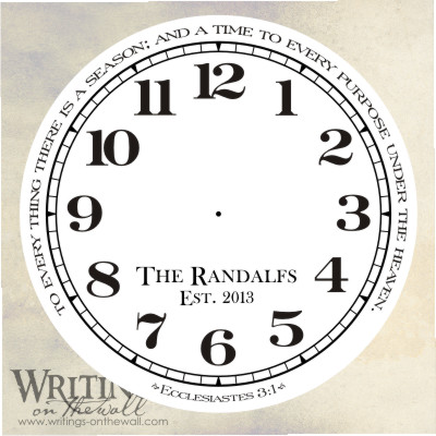 Clock face - numbers - Ecclesiastes Quote - To every thing there is a season - text personalization - vinyl decal