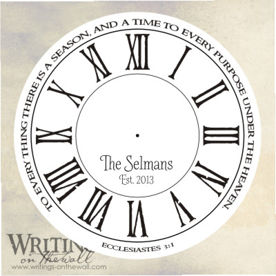 Ecclesiastes Quote Clock Face - Roman Primitive- Craft personalize vinyl decal for making your own clock.