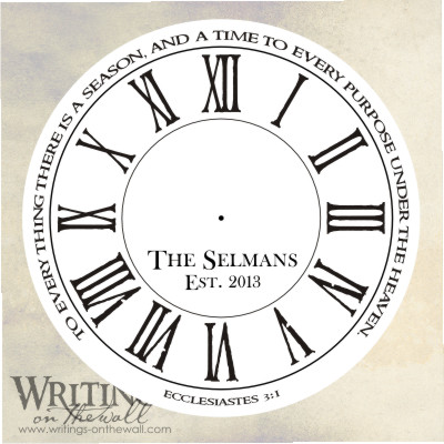 Ecclesiastes Quote Clock Face - Roman Primitive- Text personalize vinyl decal for making your own clock.