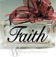 Faith #3 small glass block vinyl decal