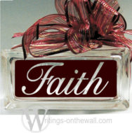 Faith #3 small glass block vinyl decal with a solid background