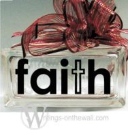 Faith #5 small glass block vinyl decal