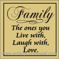Family - the ones you Live with, Laugh with, Love