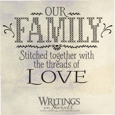 Family Cross Stitch - Our Family , stitched together with the threads of love. Vinyl wall decal.