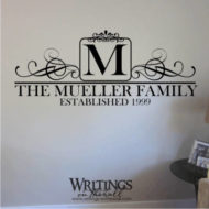 Family name monogram with scrolls in a square. Vinyl wall decal.
