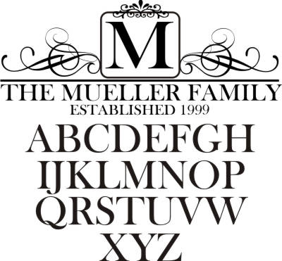 Elegant family name monogram featuring your established date and ornate scrolls. Vinyl wall decal