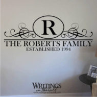 Family name with monogram, established date and scrolls. Vinyl wall decor decal.