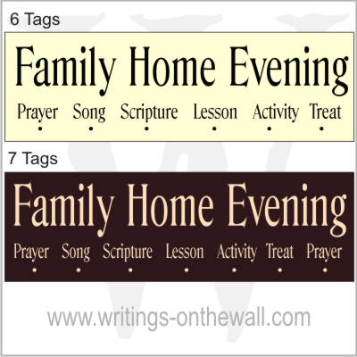 family home evening chart blue ridge vinyl only writings on