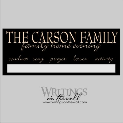 Family Home Evening Customized Magnetic vinyl decal. Vinyl only.