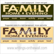 Family Home Evening Chart - modern text - magnetic