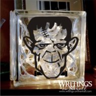 Frankenstein 1 color glass block vinyl. Halloween decal