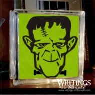 Frankenstein 2 color glass block vinyl. Fits an 8 x 8 glass block