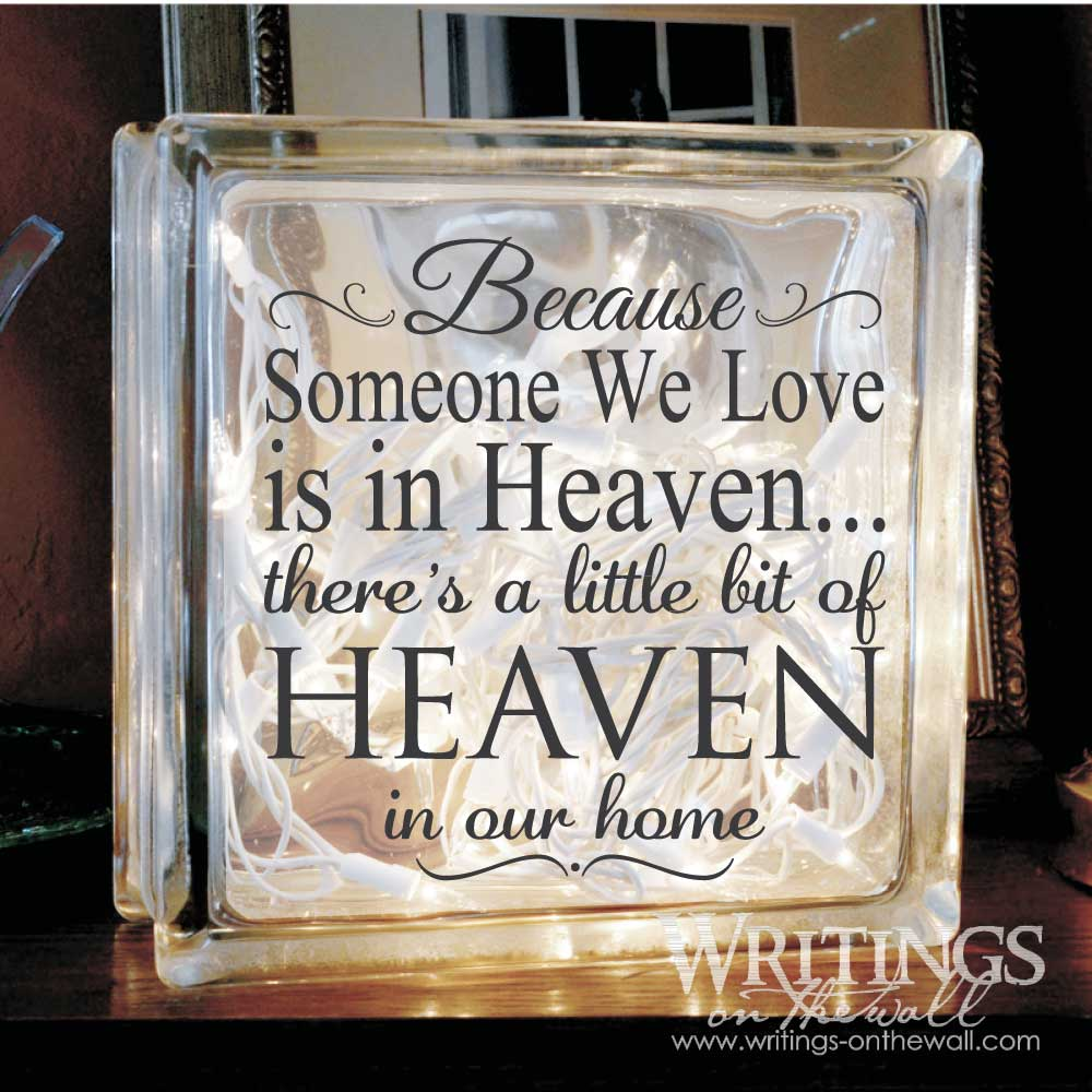 Heaven In Our Home Glass Block Vinyl Writings On The Wall - Glass block vinyl decals