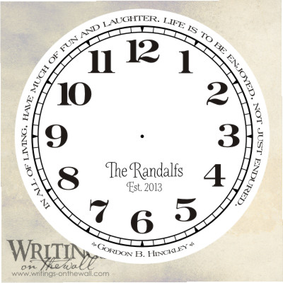 Life is to be enjoyed not just endured, clock face with numbers, craft personalization. Vinyl decal for making your own custom clock.