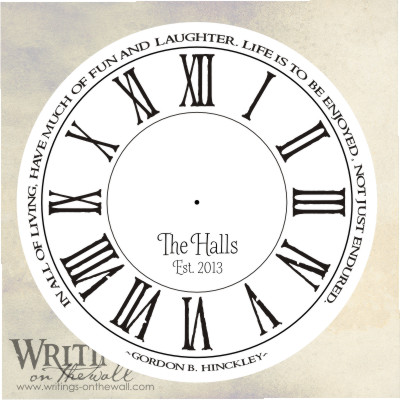 Life is to be enjoyed not just endured, clock face with numbers, text personalization. Vinyl decal for making your own custom clock.