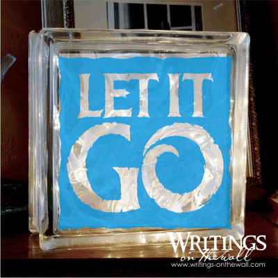 Let it go - glass block vinyl with a solid background