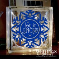 Let it Snow #2 decal for large glass block, plate or tile. Snowflake with cut-out letters.