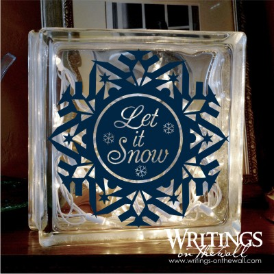 Let it Snow #3 glass block, tile or decorative plate decal