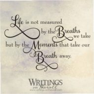 Life is not measured by the breaths we take, but by the moments that take our breath away. Vinyl wall decal.