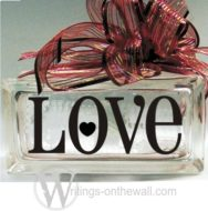 Love #2 small glass block vinyl decal