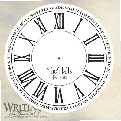 Love at home, clock face with distressed roman numerals, craft personalization. Vinyl decal for making your own custom clock.