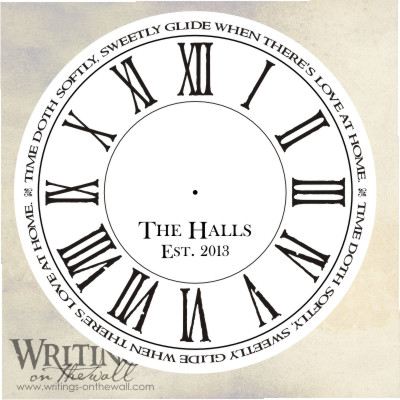 Love at home, clock face with distressed roman numerals, text personalization. Vinyl decal for making your own custom clock.