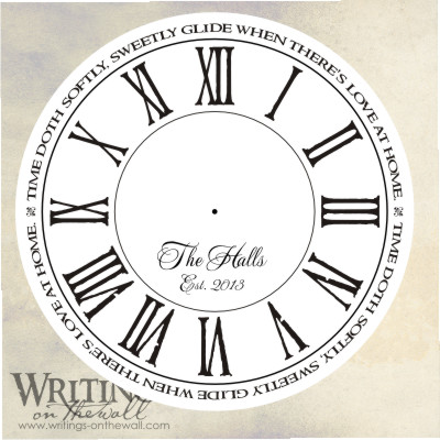 Love at home, clock face with distressed roman numerals, script personalization. Vinyl decal for making your own custom clock.
