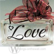 Love layout #1 for small glass blocks. Vinyl decal