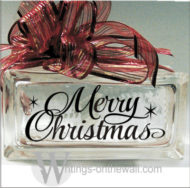 Merry Christmas Script small glass block vinyl decor decal