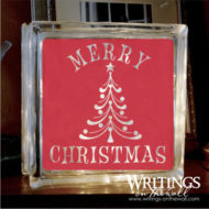 Merry Christmas with tree. Glass block vinyl