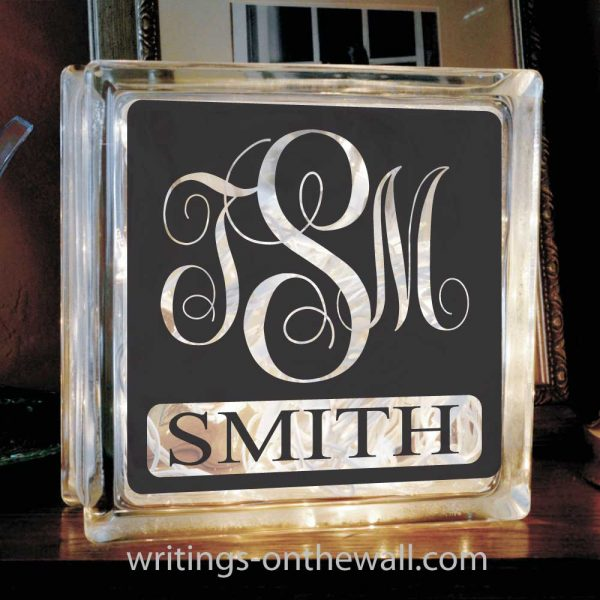 Beautiful script monogram with family name for tiles or glass block