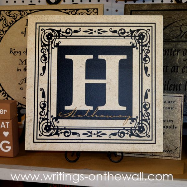 "Square monogram for 12"" tile. 2 color with name overlay."