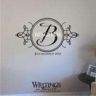 Monogram - round with scroll, name and established date. Two colors for your wall.