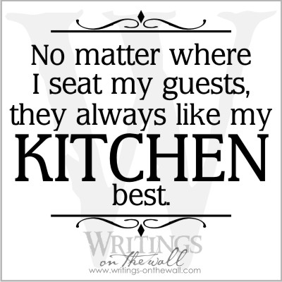 No matter where I seat my guests they always like my kitchen best.