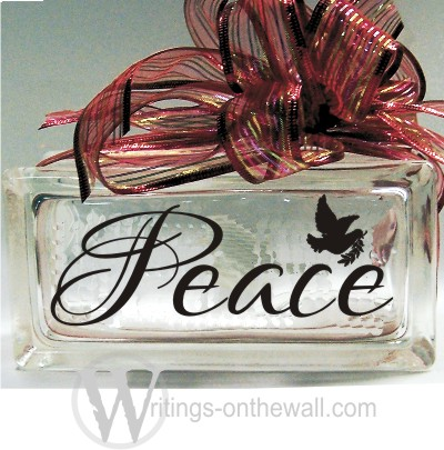 Peace #1 small glass block vinyl decal