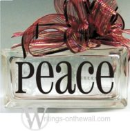 Peace #3 small glass block vinyl decal