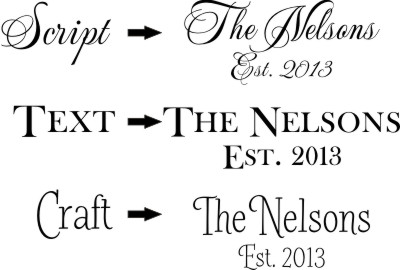 Personalization Styles - choose from these three distinct font styles. Script, Text or Craft style.