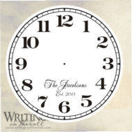 Clock face with numbers and script personalization. Vinyl decal.