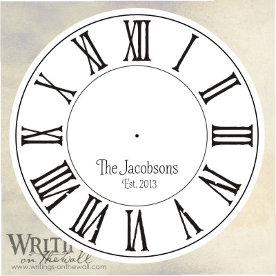 Clock face with distressed roman numerals and craft personalization. Vinyl decal.