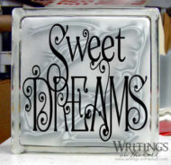 Sweet Dreams large glass block vinyl. Vinyl decor for your home.
